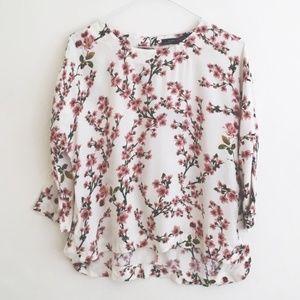 ZARA Cherry Blossom Blouse - Small